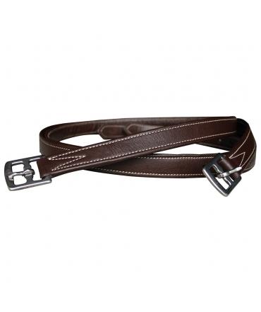 Etrivières equitation marron CHETAK nylon recouvertes cuir