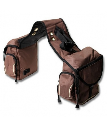 saccoches cheval multipoches nylon ronzon marron tabac